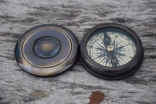 Antique 1885 Pocket Style Vintage London Poem Engraved Brass Compass Case photo