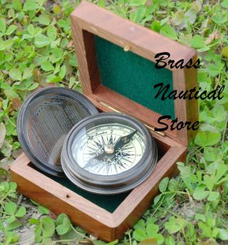 Robert Frost Brass & Copperstanley London Poem Engraved Compass With Wood Case photo