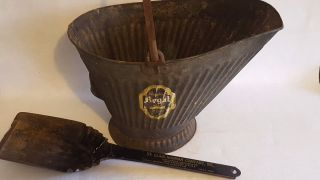 Vintage Steel Coal Bucket W/ Advertising Shovel Primitive Fireplace Decor photo