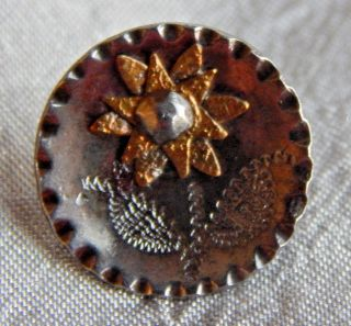 Antique Vintage Steel Cup Button With Cut Steel Sun Flower 926 - A photo