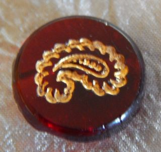 Antique Vintage Red Glass Button Gold Luster Paisley 040 - B photo