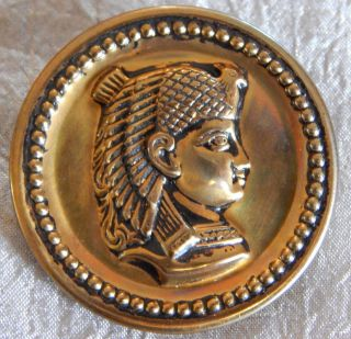 Antique Vintage Brass Picture Button Egyptian Pharaoh 009 - B photo