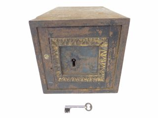 Antique Old Metal Lockbox Storage Lock Box Container Holder Wall Safe With Key photo