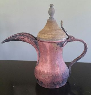 Extremely Rare Bedouin Brass/copper Dallah/coffee Pot Saudi Arabia photo