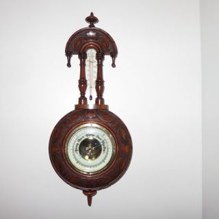 An Attractive Early 20th Century Walnut Barometer photo