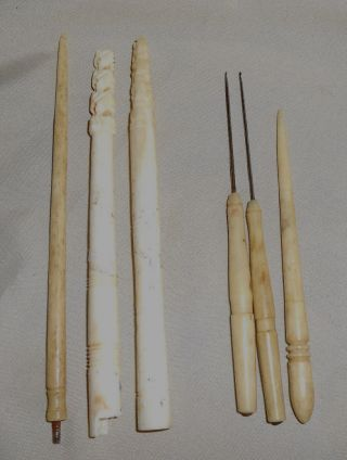 Antique Crochet Hooks And Other Sewing Items photo