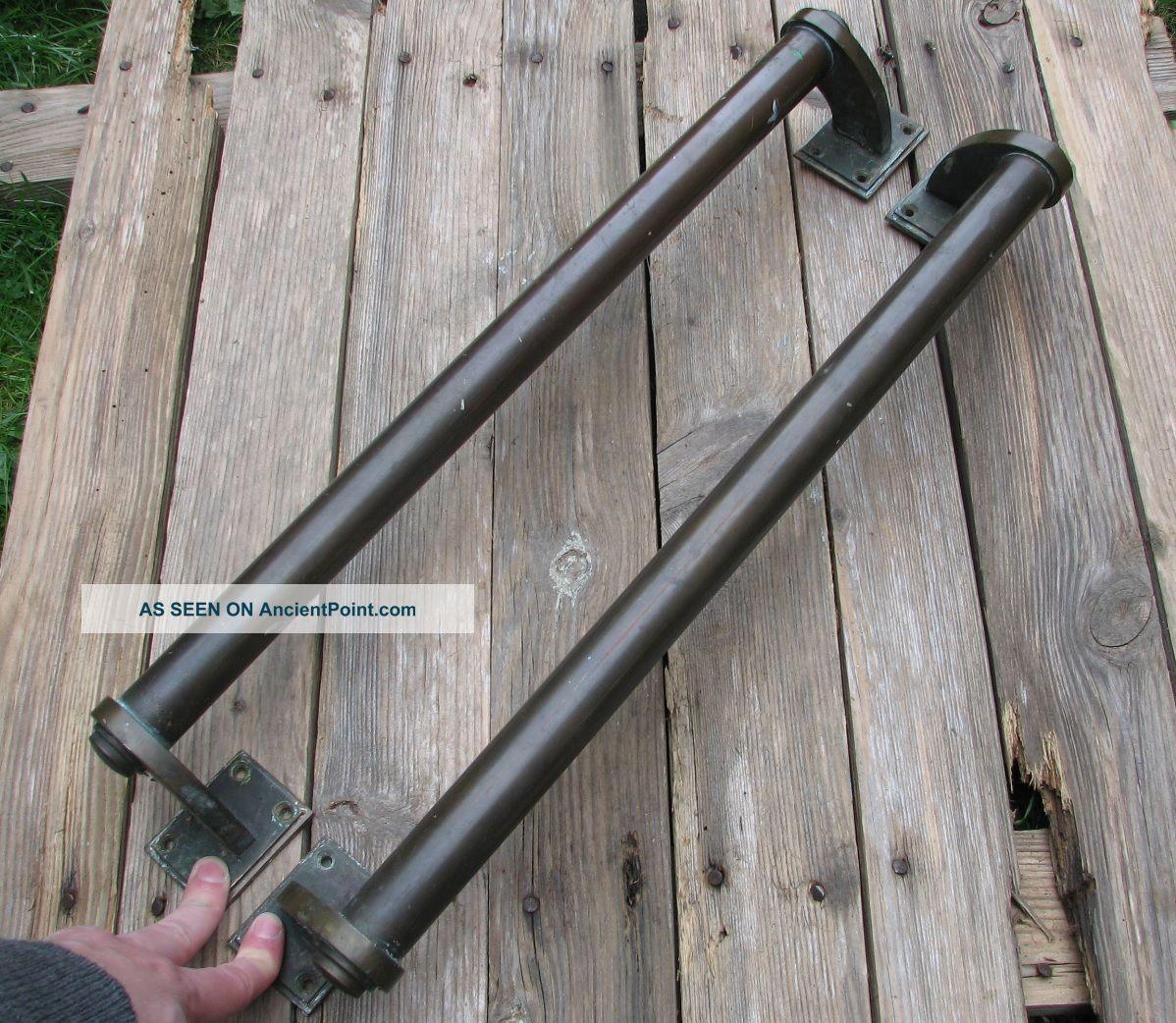 Very Large Old Bronze Door Pull Handles / Shop / Pub / Bar 20.  25