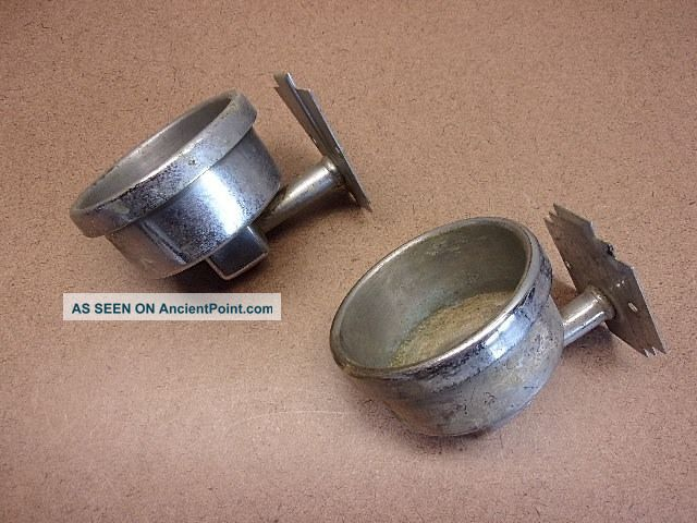 Two Vintage Chromed Bathroom Cup Holders Reclaimed Commercial Motel Pat ' D 1933 Plumbing photo