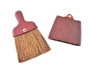 Vintage Horsehair Valet Clothing Whisk Butlers Crumb Broom Brush With Cover photo