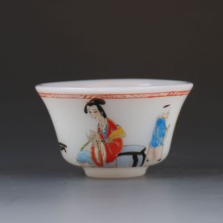 Old Beijing Colored Glaze Hand - Painted Beauty & Children Bowl W Qianlong Mark photo