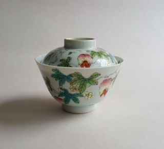 Antique Chinese Famille Rose Porcelain Cover Bowl photo