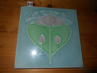 One Antique Arts And Craft Tile Art Nouveau Sherwins Blue Green 6x6 2 Of 2 photo