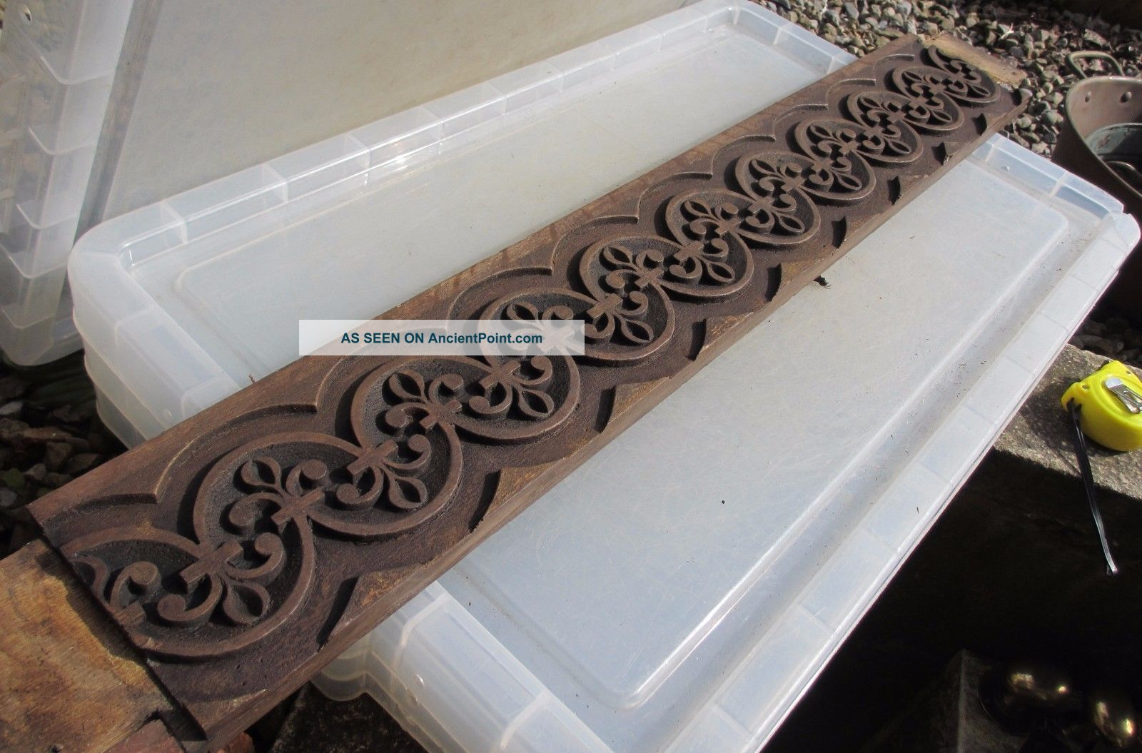 Vintage Wooden Panels Plaques Strip Carved Wood French Fleur Di Lis 32
