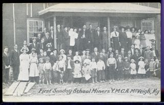 Postcard Coal Mining First Sunday School Y.  M.  C.  A Miners Mcveigh Kentucky 1908 photo