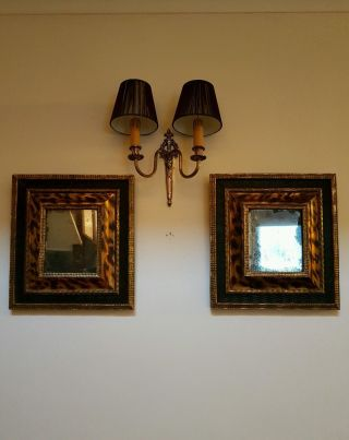 Pair French Antique Victorian C1870 Wall Mirrors Leppard Effect Gilding Foxing photo