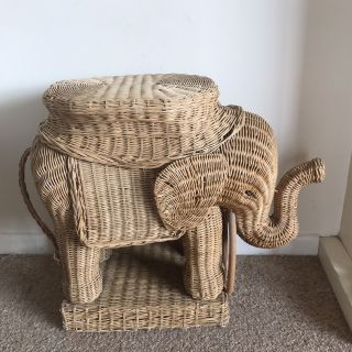 Large Wicker Elephant Table Plant Stand Trunk Up Tusks photo
