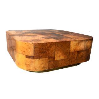 Cityscape 1970s Burl Wood Coffee Table W/ Brass Plinth Paul Evans Directional photo