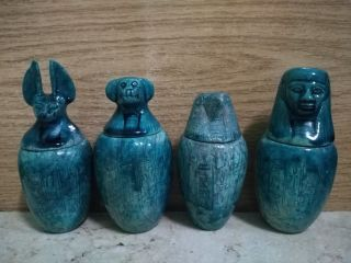 4 Ancient Egyptian Canopic Jars (1353 - 1336 Bc) photo