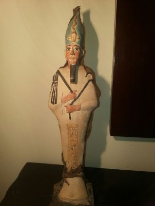 Ancient Egyptian God Osiris Wearing Crown Hold Crooks Covered Leather1970 - 1860bc photo