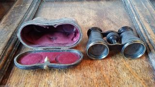 1880 Antique Victorian Opera Glasses & Leather Case - Piper Optician Winchester photo
