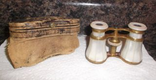 Antique Opera Glasses Circa 1800 ' S ? Lemaire,  Paris,  Inlaid Mother Of Pearl photo