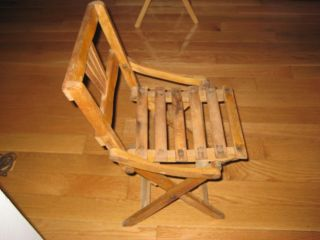 Antique Vintage Child ' S Wood Slat Folding Chair,  21 1/2