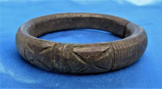 Old Historical Bronze Brass African Trade Currency Bracelet Or Manilla photo