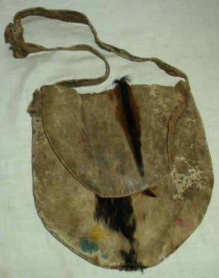 Antique C.  1840 Plains Native American Indian Hide Leather Shot Pouch Vafo photo