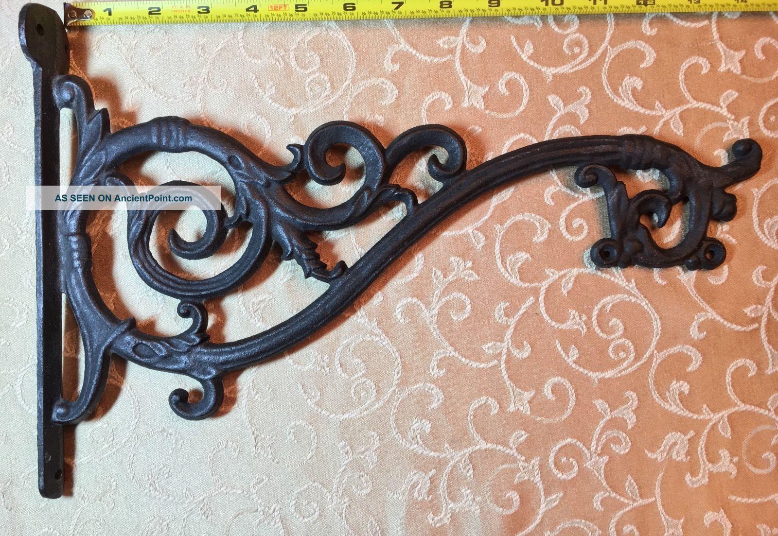 Vtg Antique Cast Iron Wall Hook Plant Hanger Bracket Lg: 14.  5