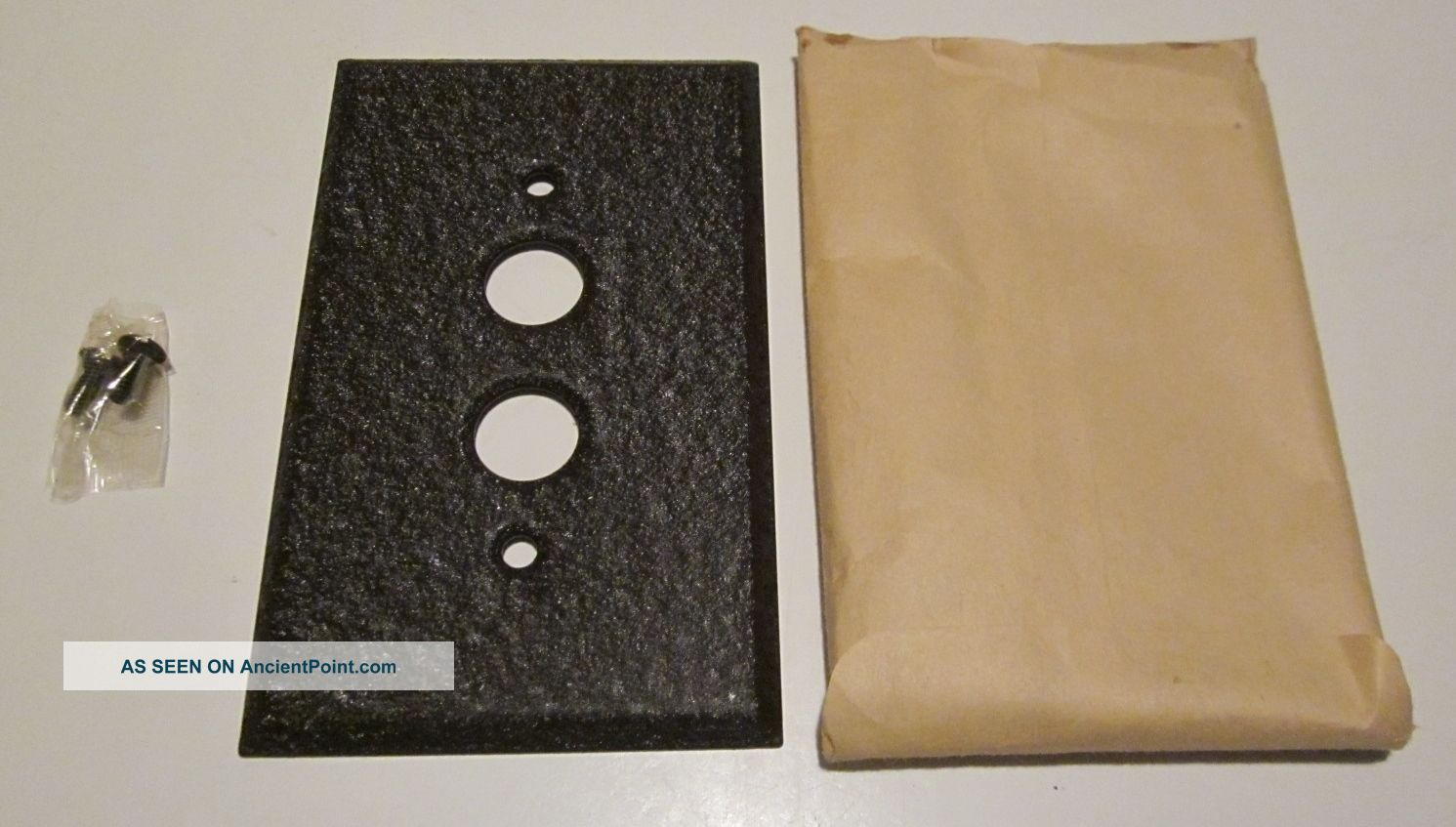 Nos Single Gang Pushbutton Switch Plate Wrinkle Brown Paint On Steel (33 Avail) Switch Plates & Outlet Covers photo
