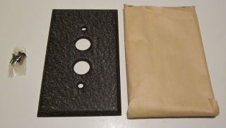 Nos Single Gang Pushbutton Switch Plate Wrinkle Brown Paint On Steel (33 Avail) photo