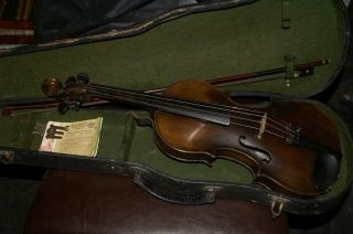 Old Antique Violin With Case And Bow Ventapane 1860 photo