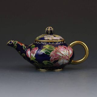 Chinese Cloisonne Hand - Painted Flower Teapot G379 photo