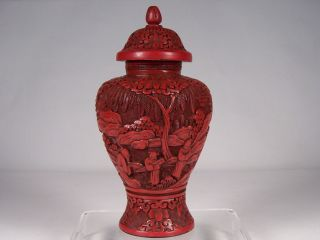 18c/19c Chinese Cinnabar Lacquer Carved Lidded Vase Jar W Finest Details & Color photo
