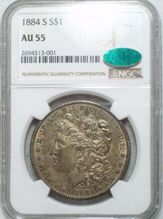 1884 S Morgan Dollar Silver $1 Ngc Au 55 Cac Sticker Key Date Dark Golden Toning photo