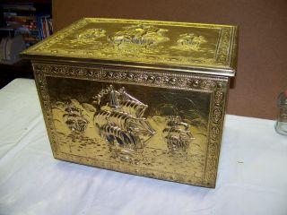 Vintage Brass & Wood Tinder Box Bates Of Birmingham Ships At Sea photo