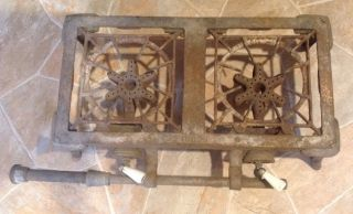 Antique Vintage Oden Mfg.  Co. ,  Erie Pa. ,  Cast Iron 2 Burner Gas Stove,  Lp,  Camp photo