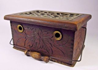 Primitive Foot Warmer: Antique 19thc French Hand Carved Oak Wood Stove Brass photo