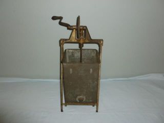 Antique Primitive Butter Churn Galvanized Tin Box Wooden Beater With Hand Crank photo