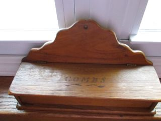Vintage Wooden Wall Mount Comb Holder With Lid & Combs Stenciled 11x6x3 1/4