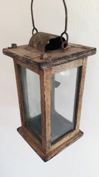 Important Antique Barn Lantern - Painted - Early Lighting - 1850 photo
