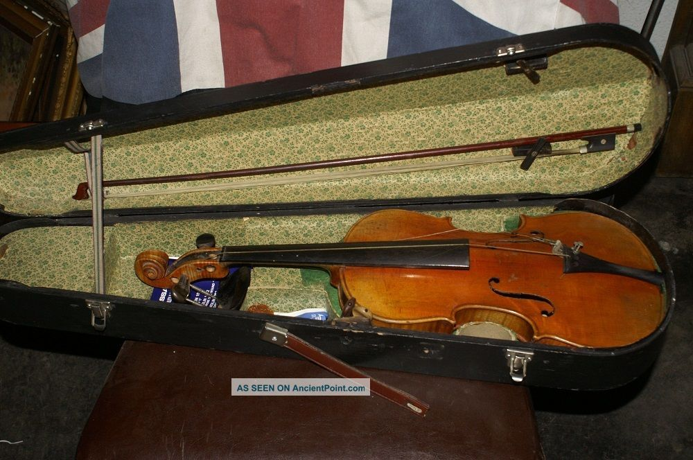 Old Antique Vintage Violin With Case And A Bow String photo