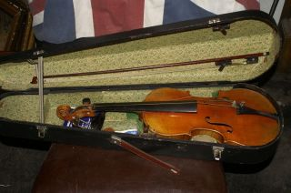 Old Antique Vintage Violin With Case And A Bow photo