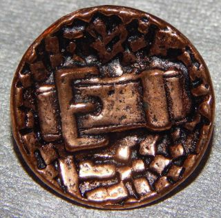Antique Vintage Picture Button Buckle Back Marked 500 - B photo