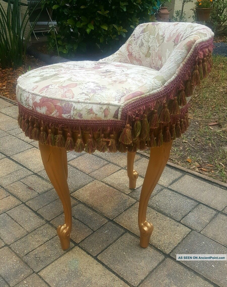 Vtg.  French Provincial Hollywood Regency Louis Xi Swivel Wood Vanity Chair Seat Post-1950 photo