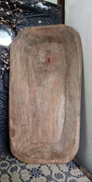 Antique Large Primitive Wood Trencher Dough Bowl Heavy Hand Hewn Estate Aafa photo