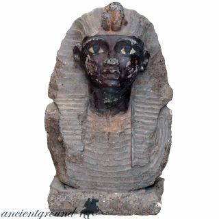 An Huge Tutankhamun Stone Bust Circa 1500 Ad,  1273 Grams photo