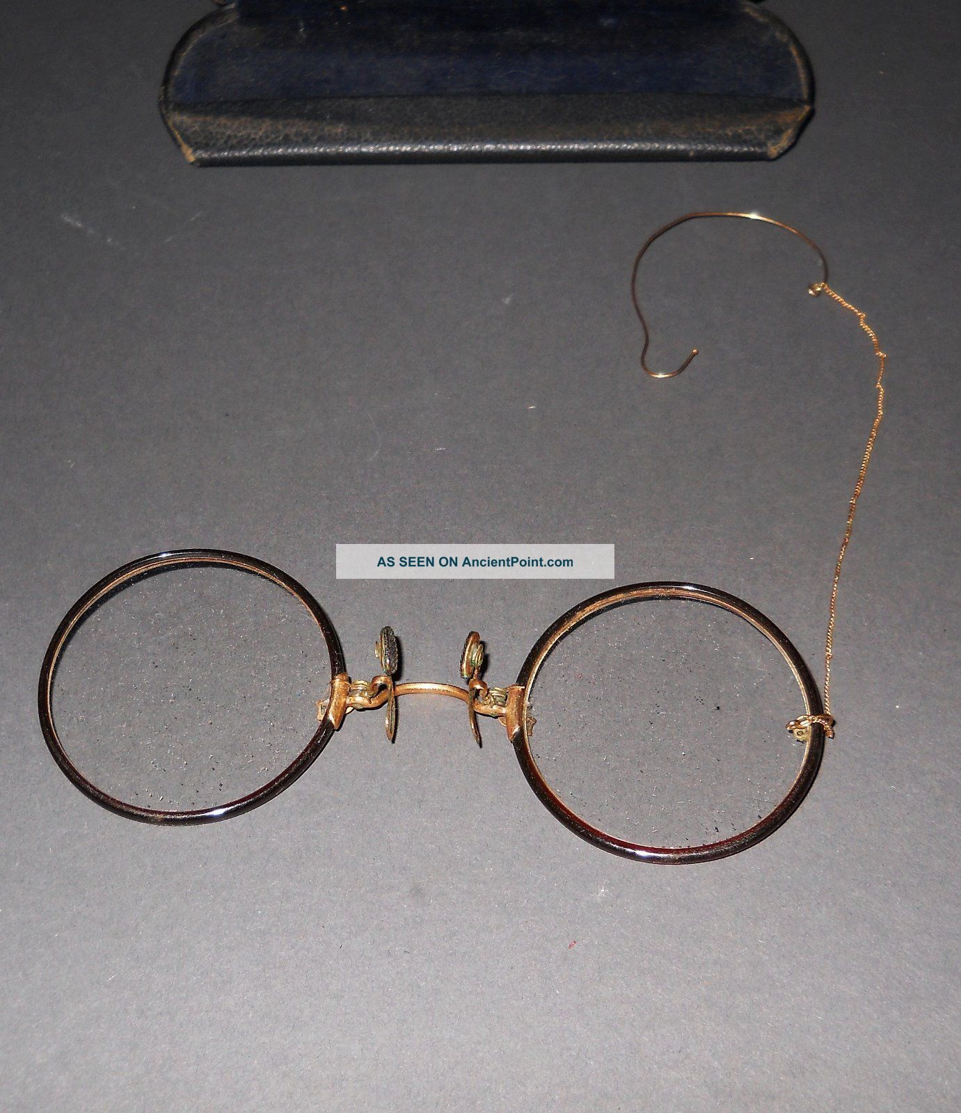 Antique Shur - On Pince Nez Hard - Bridge Eyeglasses,  Gf Bridgechain - Earhook & Case Optical photo