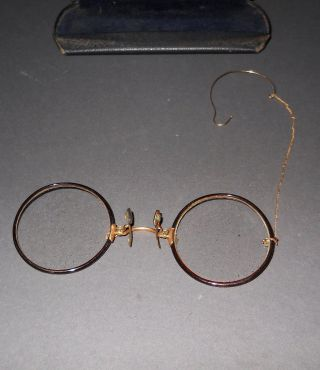 Antique Shur - On Pince Nez Hard - Bridge Eyeglasses,  Gf Bridgechain - Earhook & Case photo