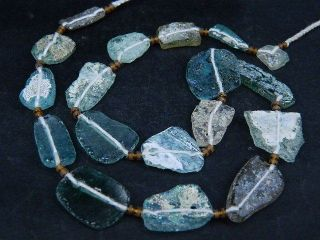Ancient Fragment Glass Beads Strand Roman 200 Bc Be1427 photo